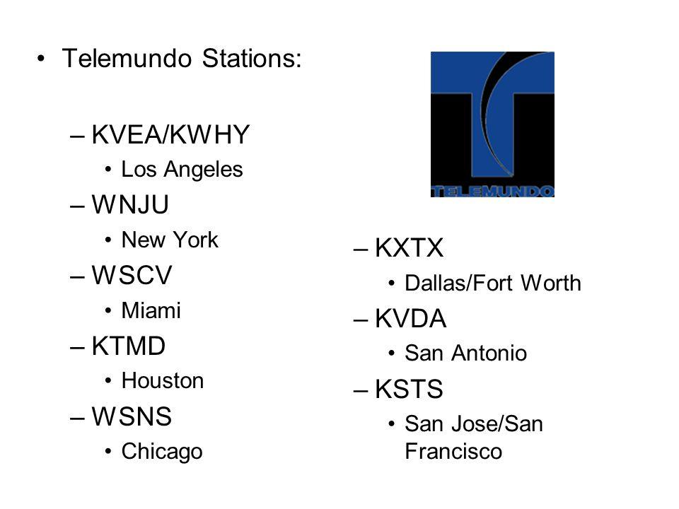 Telemundo Stations: KVEA/KWHY WNJU WSCV KTMD WSNS KXTX KVDA KSTS
