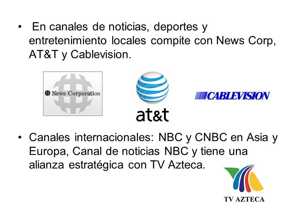 En canales de noticias, deportes y entretenimiento locales compite con News Corp, AT&T y Cablevision.