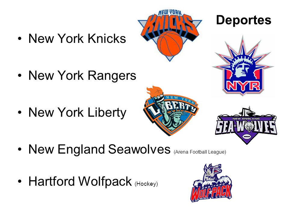 Deportes New York Knicks. New York Rangers. New York Liberty. New England Seawolves (Arena Football League)
