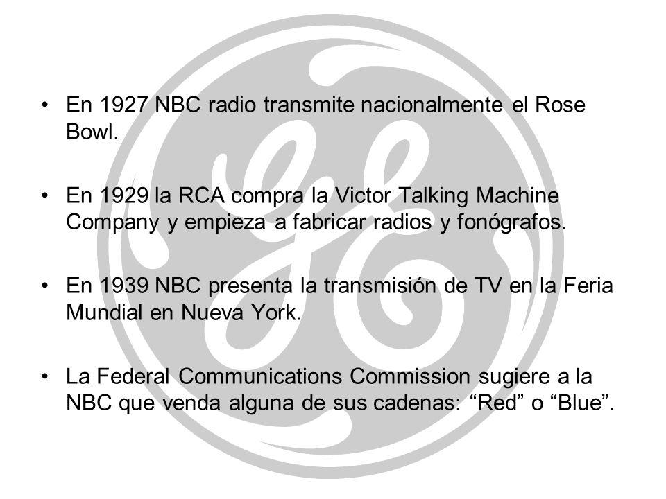 En 1927 NBC radio transmite nacionalmente el Rose Bowl.