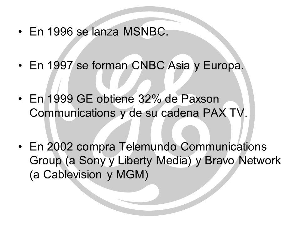 En 1996 se lanza MSNBC.En 1997 se forman CNBC Asia y Europa. En 1999 GE obtiene 32% de Paxson Communications y de su cadena PAX TV.