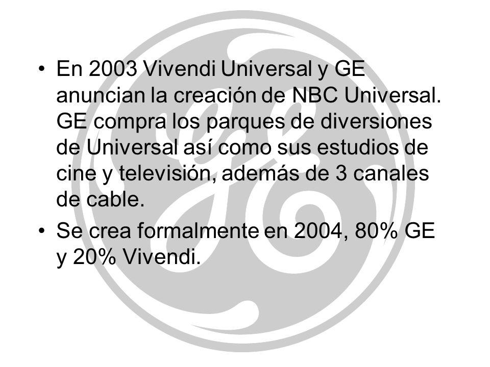 En 2003 Vivendi Universal y GE anuncian la creación de NBC Universal