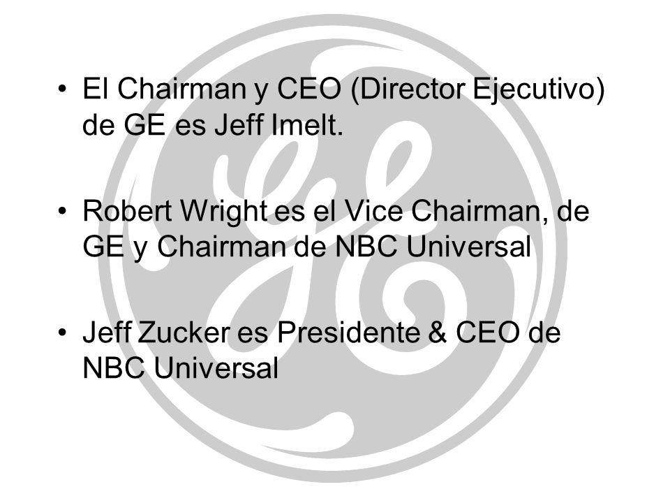 El Chairman y CEO (Director Ejecutivo) de GE es Jeff Imelt.
