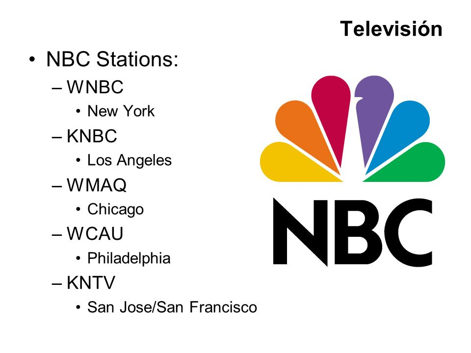 Televisión NBC Stations: WNBC KNBC WMAQ WCAU KNTV New York Los Angeles