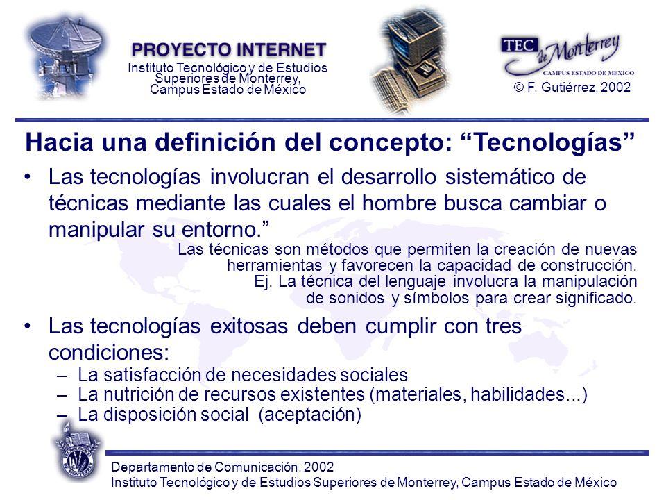 Hacia una definición del concepto: Tecnologías