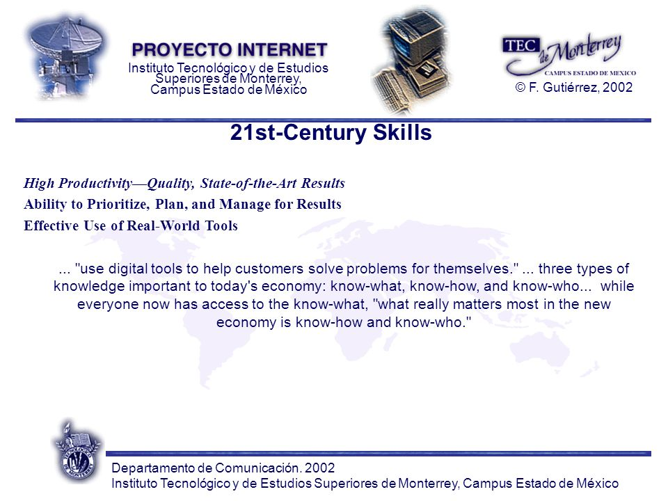 21st-Century Skills High Productivity—Quality, State-of-the-Art Results. Ability to Prioritize, Plan, and Manage for Results.