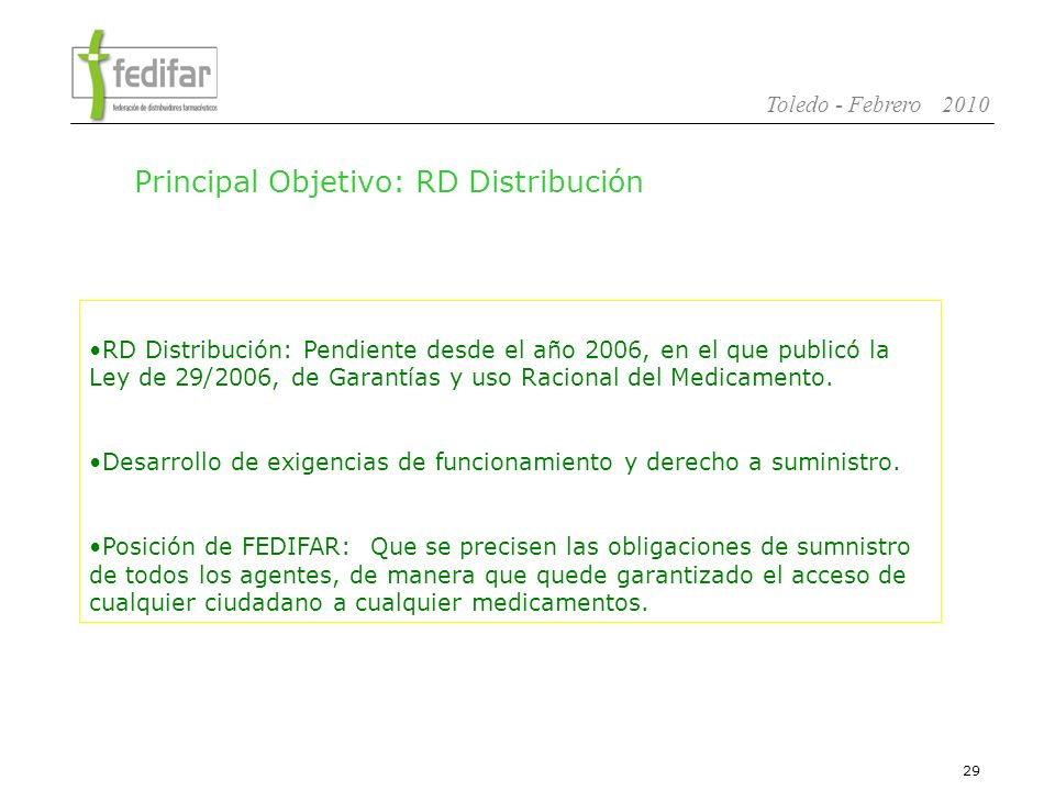 Principal Objetivo: RD Distribución