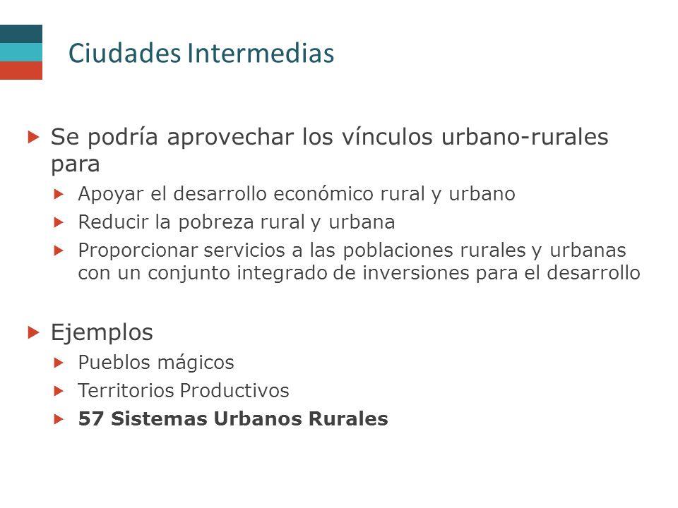 Ciudades Intermedias Se podría aprovechar los vínculos urbano-rurales para. Apoyar el desarrollo económico rural y urbano.