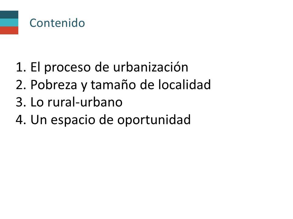 El proceso de urbanización Pobreza y tamaño de localidad