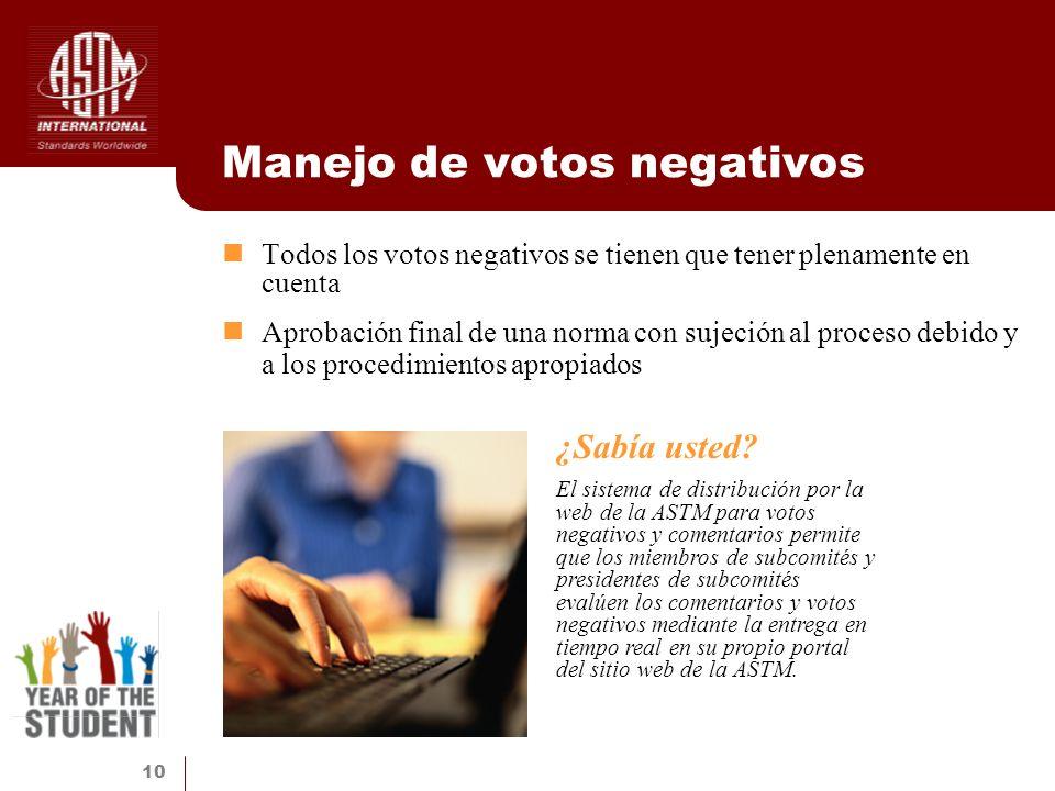 Manejo de votos negativos