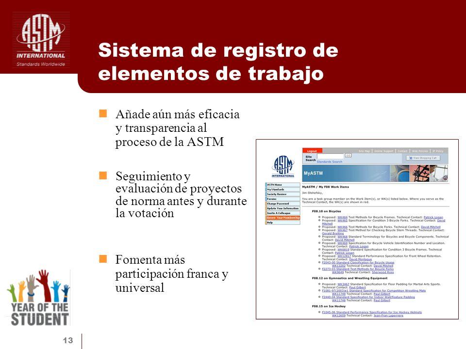 Sistema de registro de elementos de trabajo