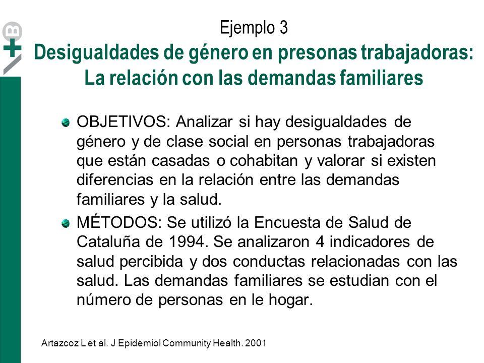 Ejemplo 3 Desigualdades de género en presonas trabajadoras: La relación con las demandas familiares