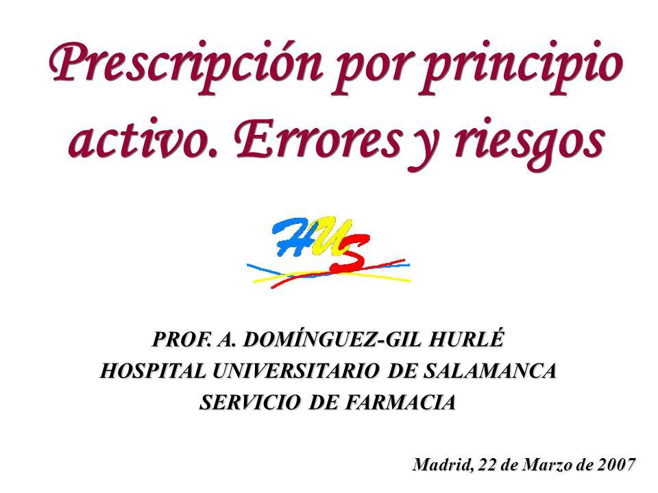 Prescripción por principio activo. Errores y riesgos