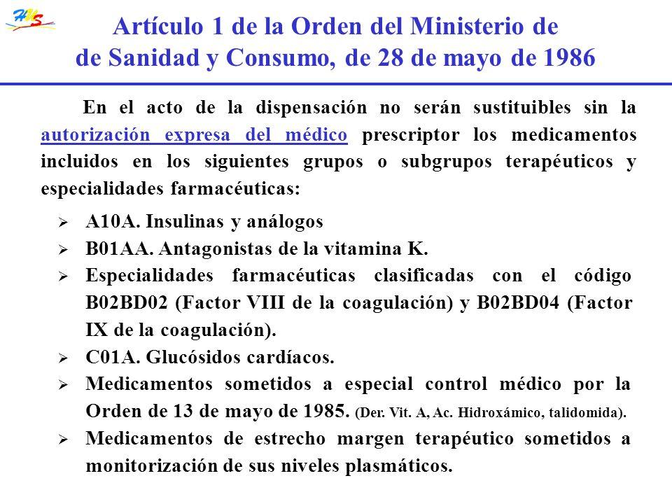 Artículo 1 de la Orden del Ministerio de