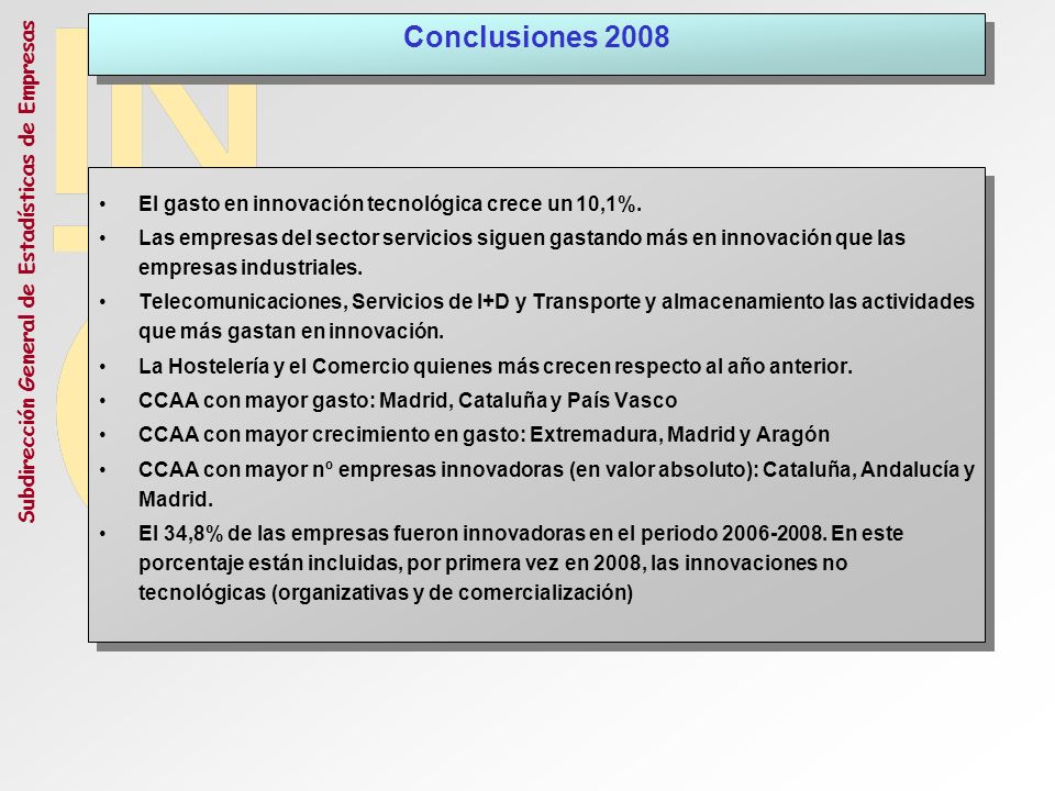 Conclusiones 2008 El gasto en innovación tecnológica crece un 10,1%.