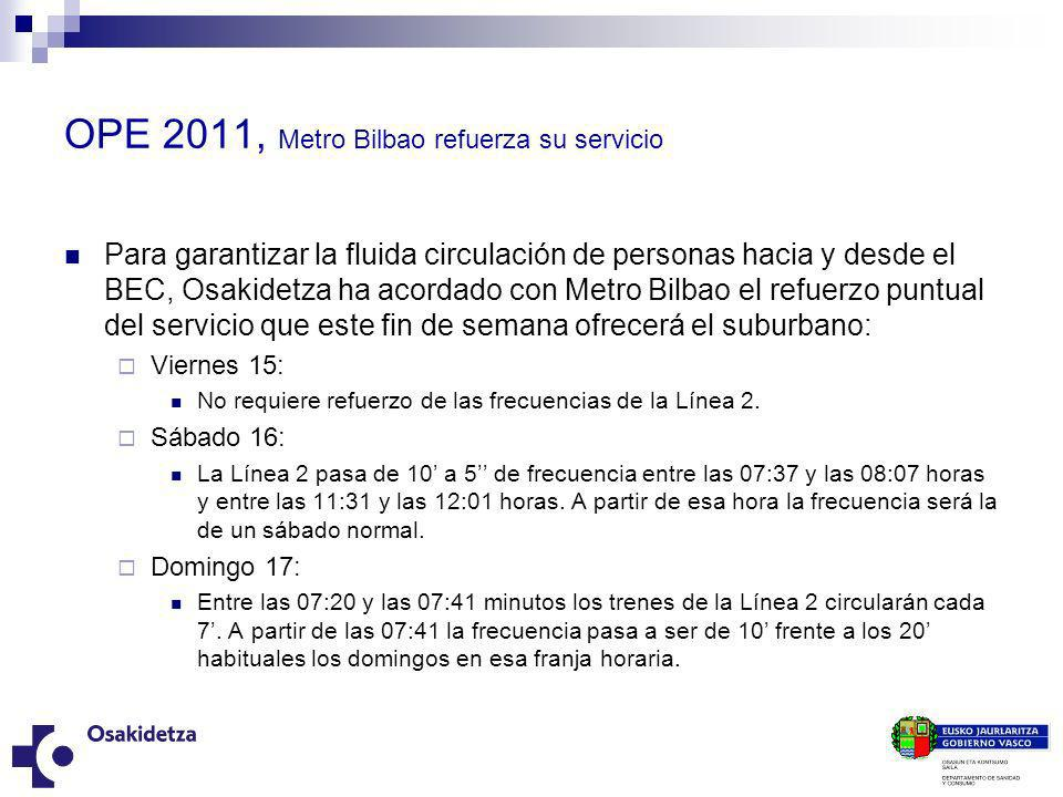 OPE 2011, Metro Bilbao refuerza su servicio