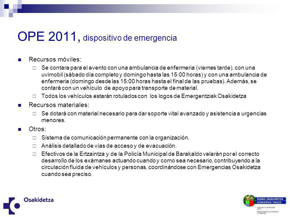 OPE 2011, dispositivo de emergencia