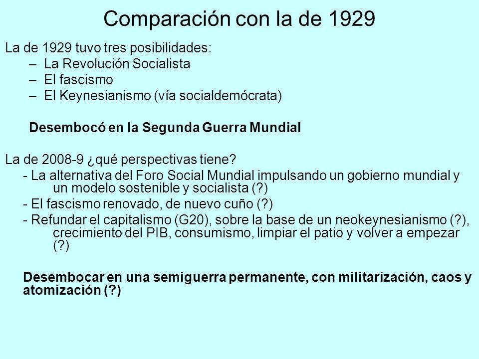 Comparación con la de 1929 La de 1929 tuvo tres posibilidades: