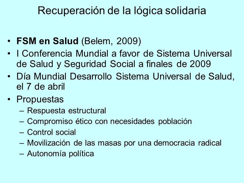 Recuperación de la lógica solidaria