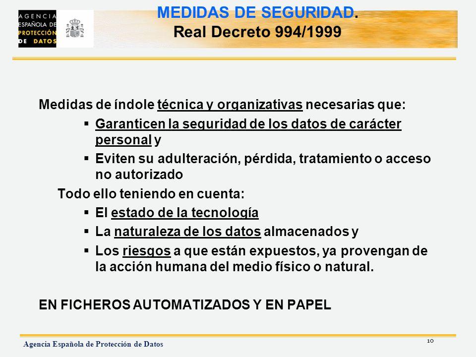 MEDIDAS DE SEGURIDAD. Real Decreto 994/1999