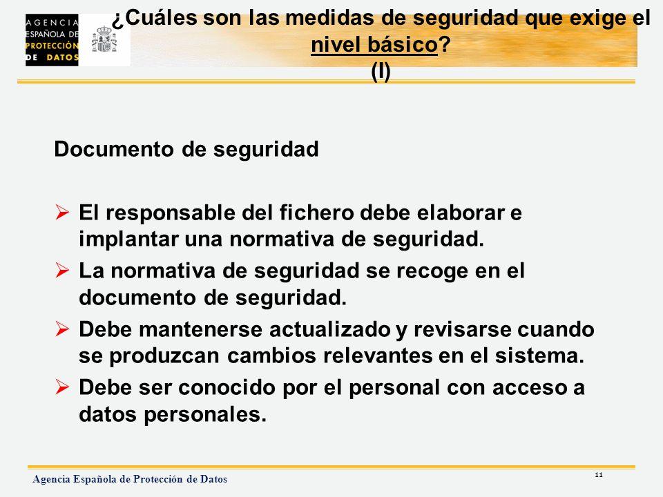 ¿Cuáles son las medidas de seguridad que exige el nivel básico (I)