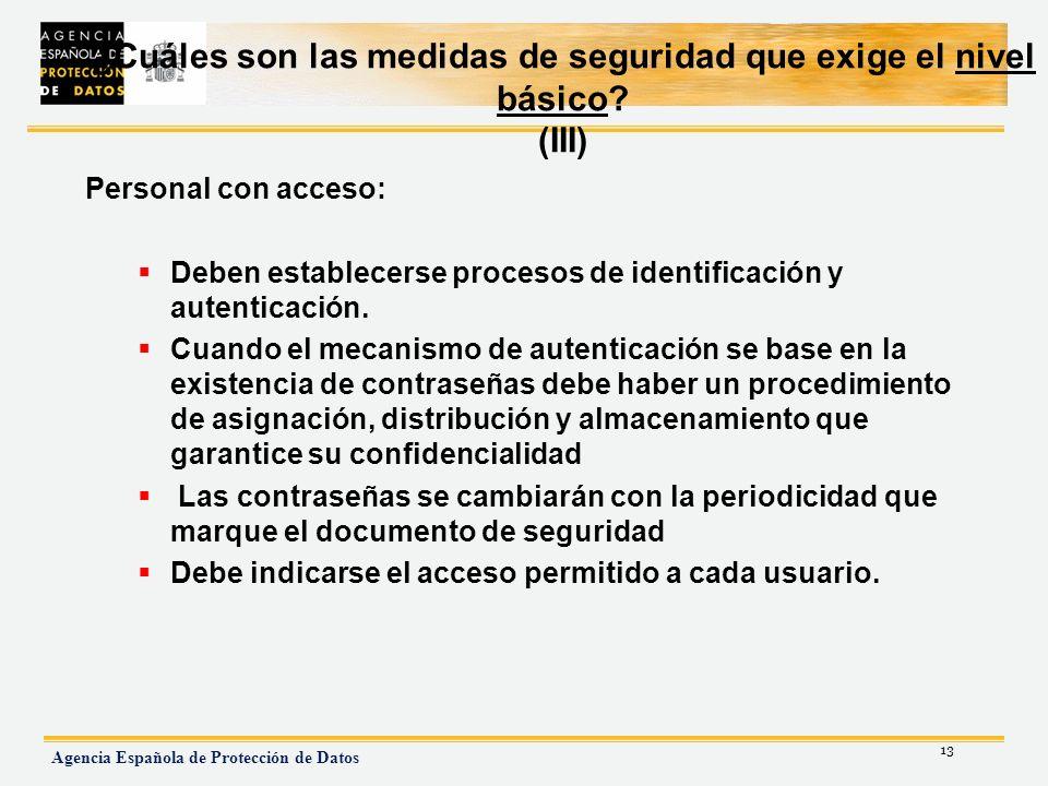 ¿Cuáles son las medidas de seguridad que exige el nivel básico (III)