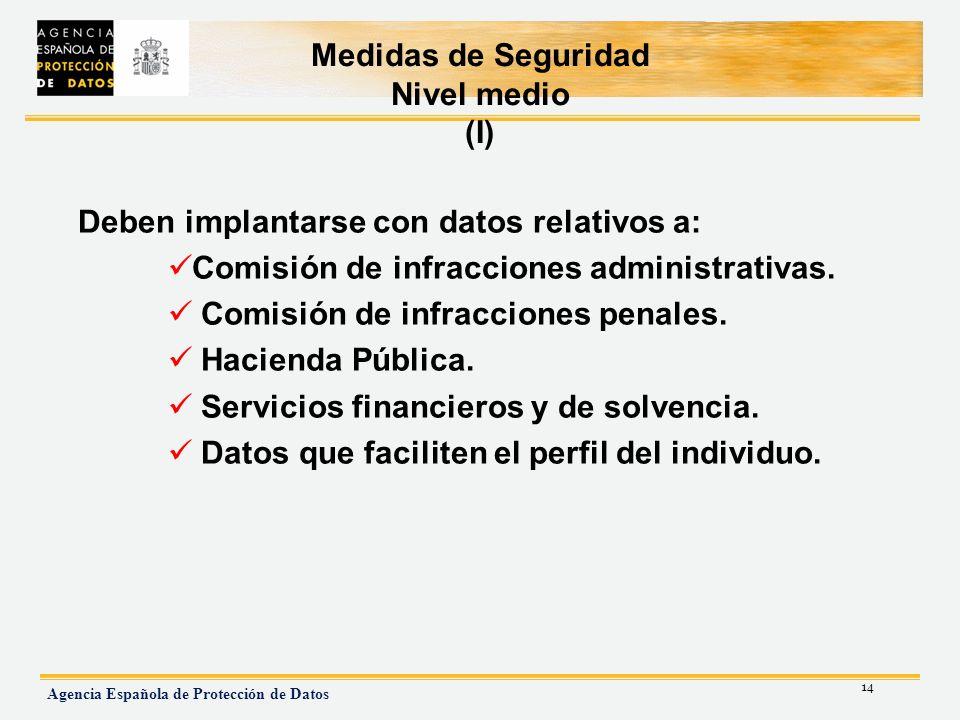 Medidas de Seguridad Nivel medio (I)