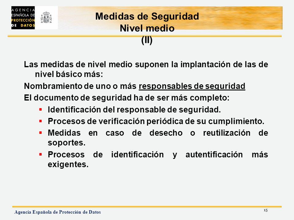 Medidas de Seguridad Nivel medio (II)