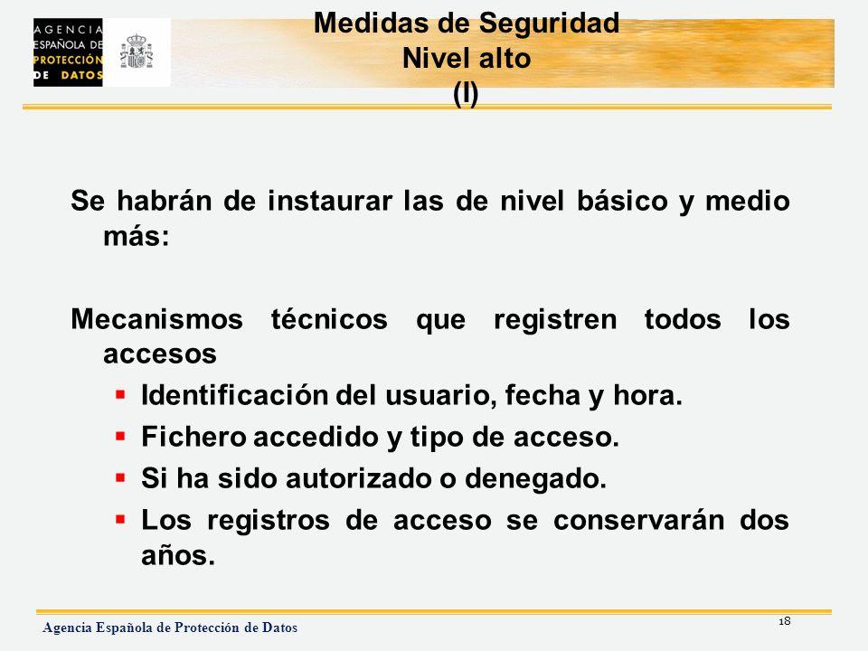 Medidas de Seguridad Nivel alto (I)