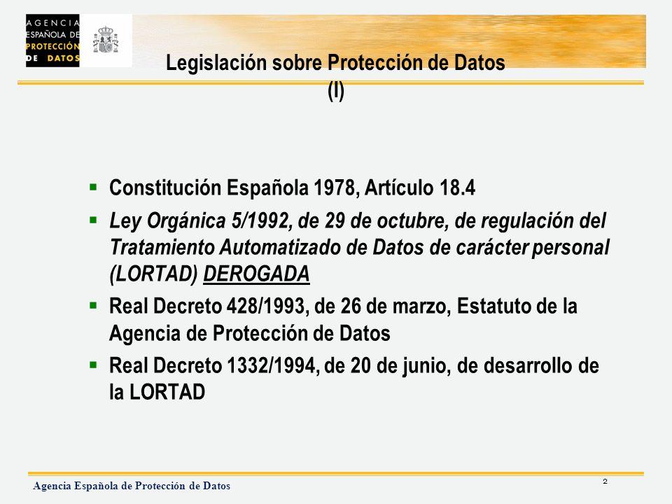 Legislación sobre Protección de Datos (I)
