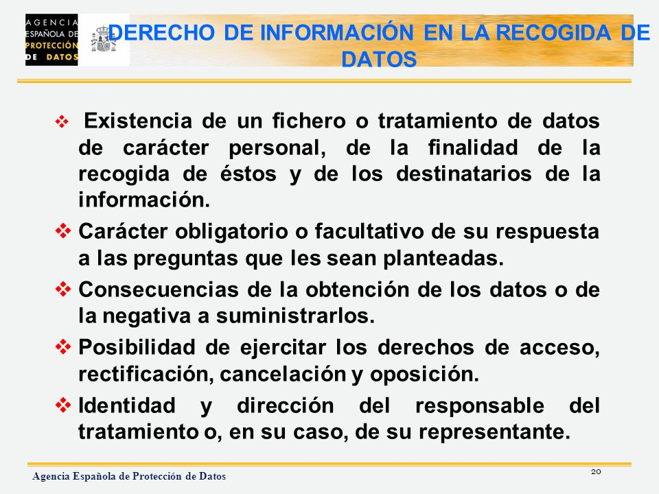 DERECHO DE INFORMACIÓN EN LA RECOGIDA DE DATOS