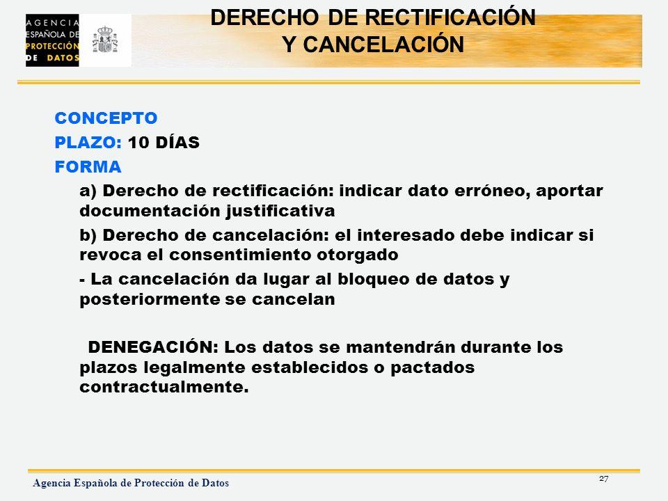 DERECHO DE RECTIFICACIÓN Y CANCELACIÓN