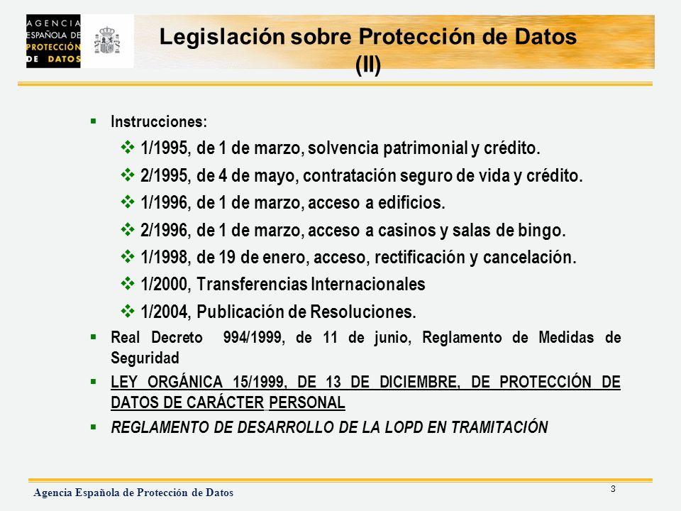 Legislación sobre Protección de Datos (II)