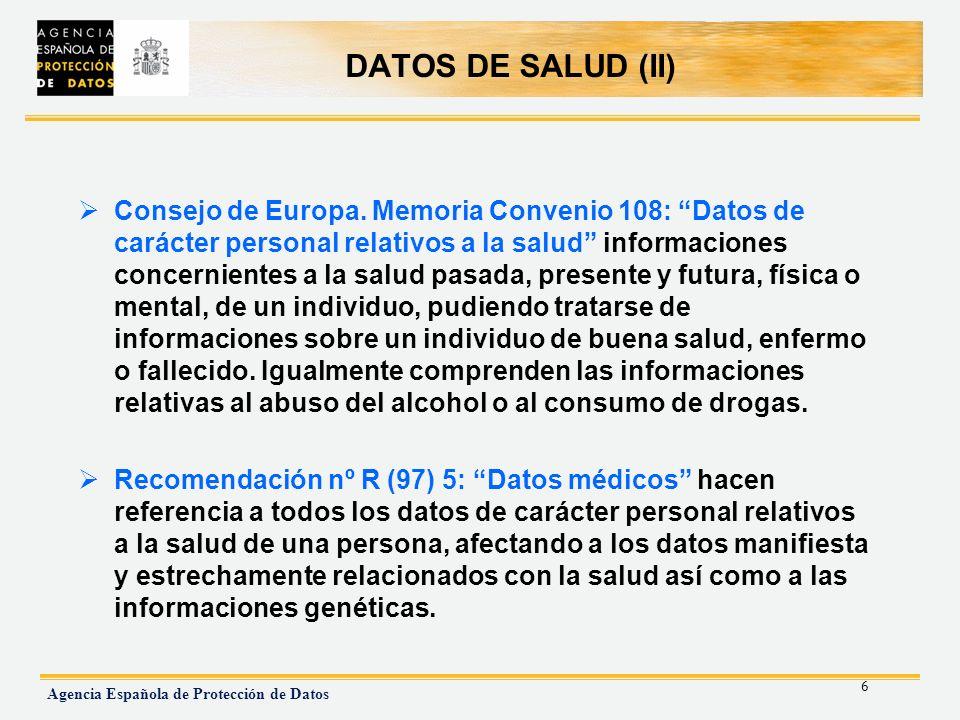 DATOS DE SALUD (II)