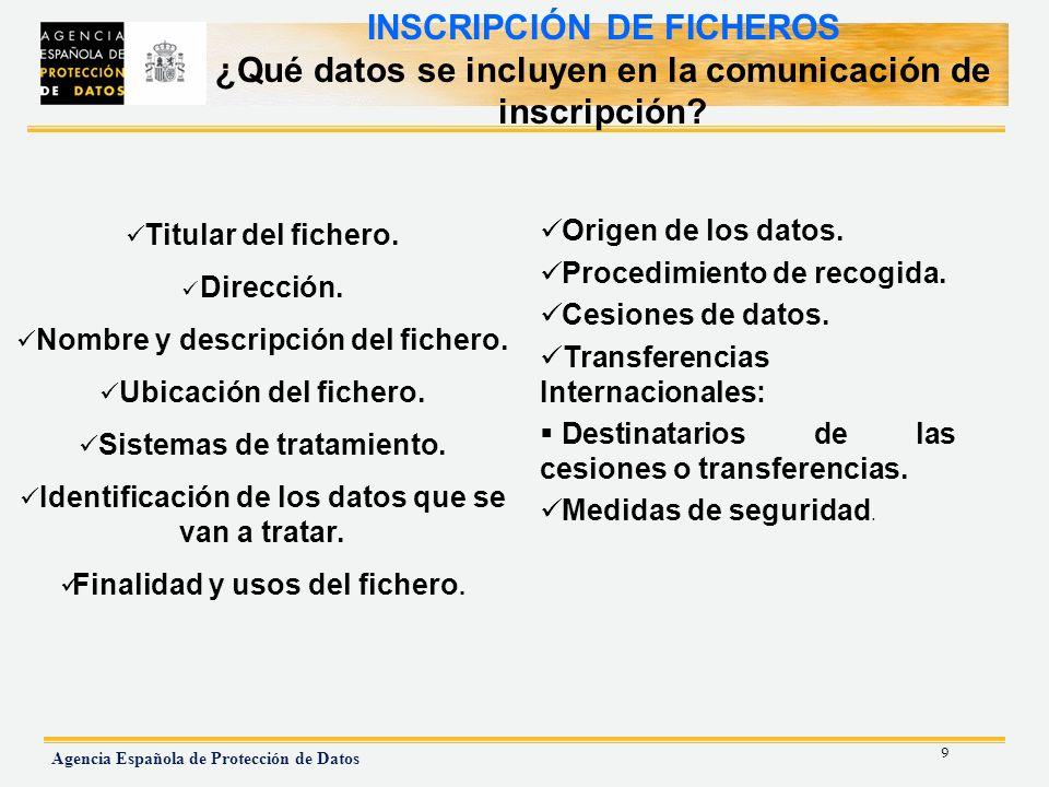 INSCRIPCIÓN DE FICHEROS ¿Qué datos se incluyen en la comunicación de inscripción