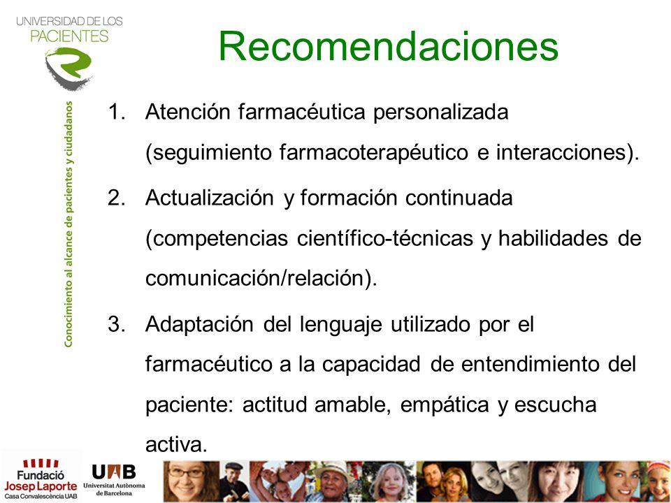 RecomendacionesAtención farmacéutica personalizada (seguimiento farmacoterapéutico e interacciones).