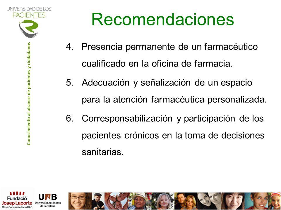 Recomendaciones4. Presencia permanente de un farmacéutico cualificado en la oficina de farmacia.