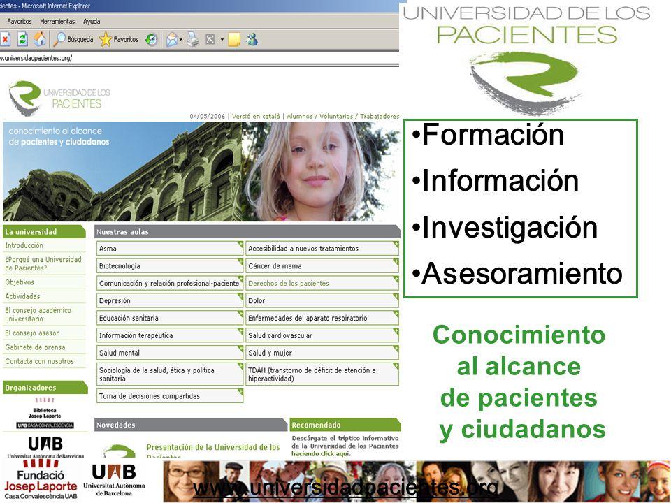 Formación Información Investigación Asesoramiento Conocimiento
