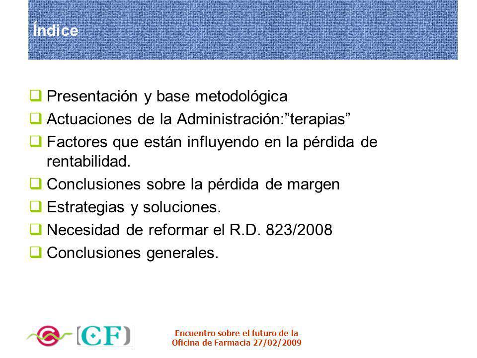 Índice Presentación y base metodológica. Actuaciones de la Administración: terapias Factores que están influyendo en la pérdida de rentabilidad.