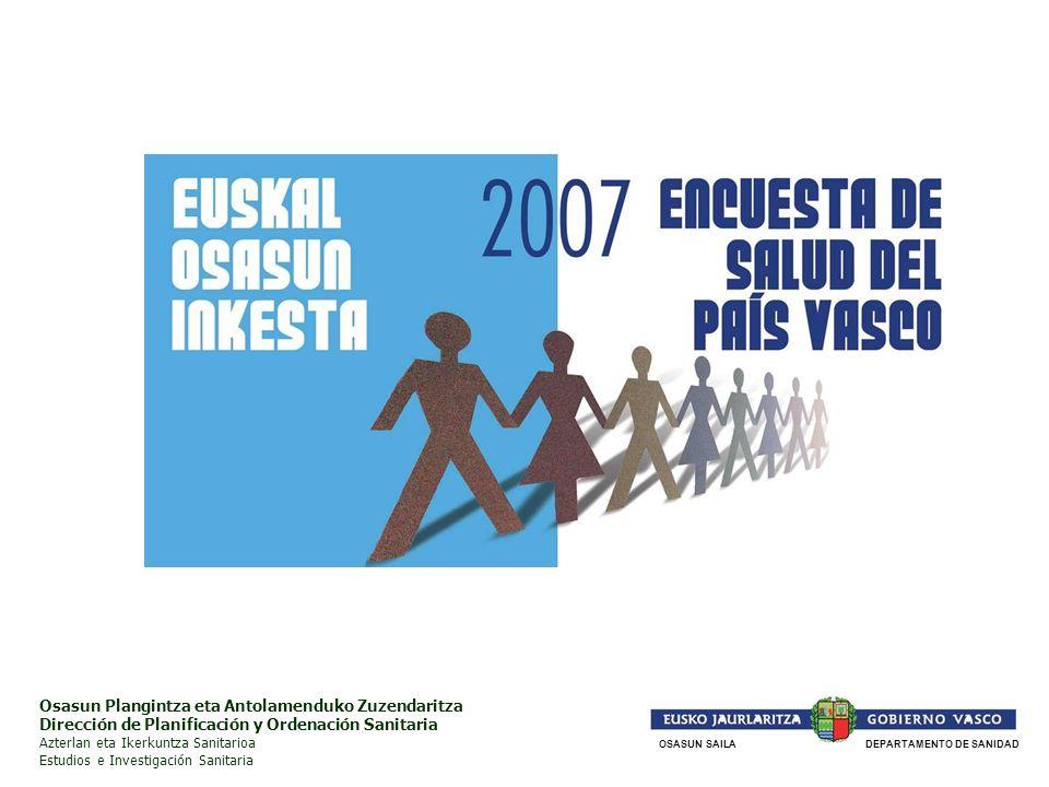El pasado año 2007, el Departamento de Sanidad realizó la Encuesta de Salud de la Comunidad Autónoma del País Vasco de 2007 (ESCAV07), la 5ª que ha llevado a cabo.
