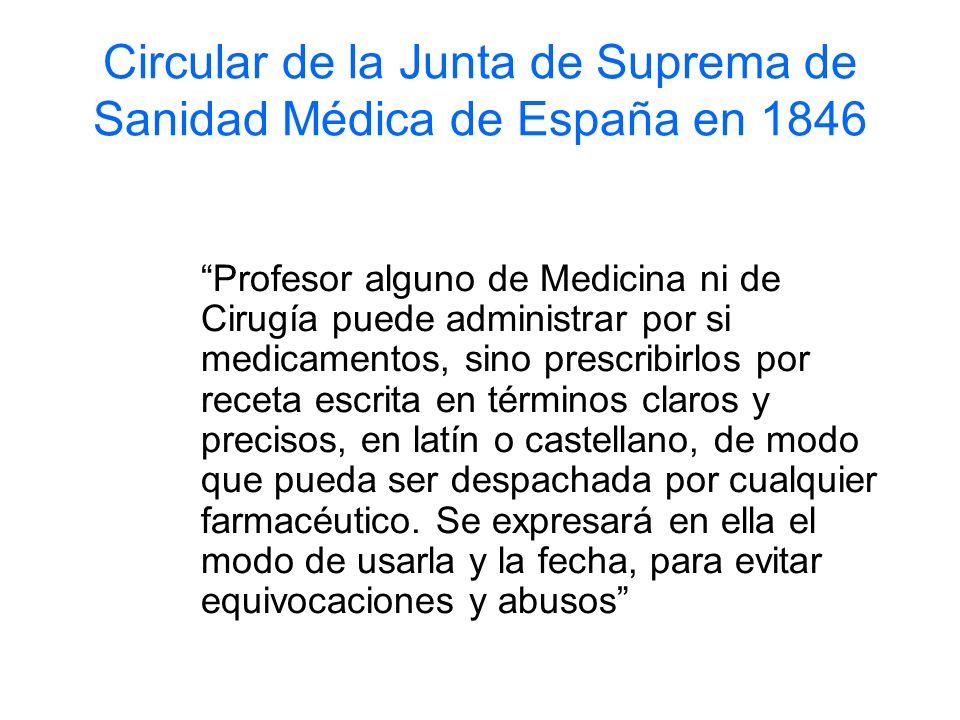 Circular de la Junta de Suprema de Sanidad Médica de España en 1846