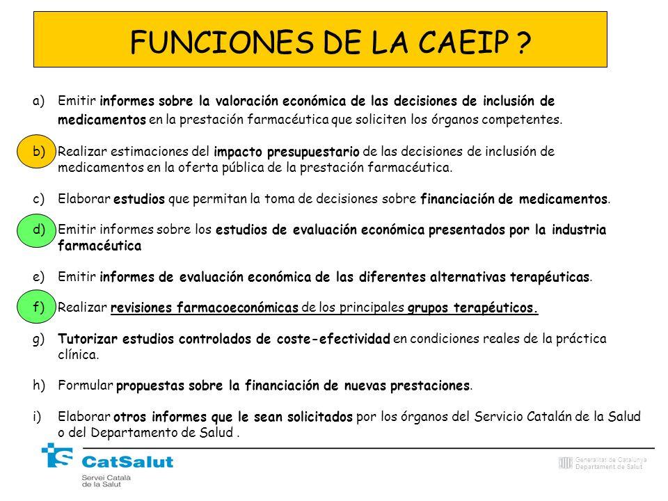 FUNCIONES DE LA CAEIP