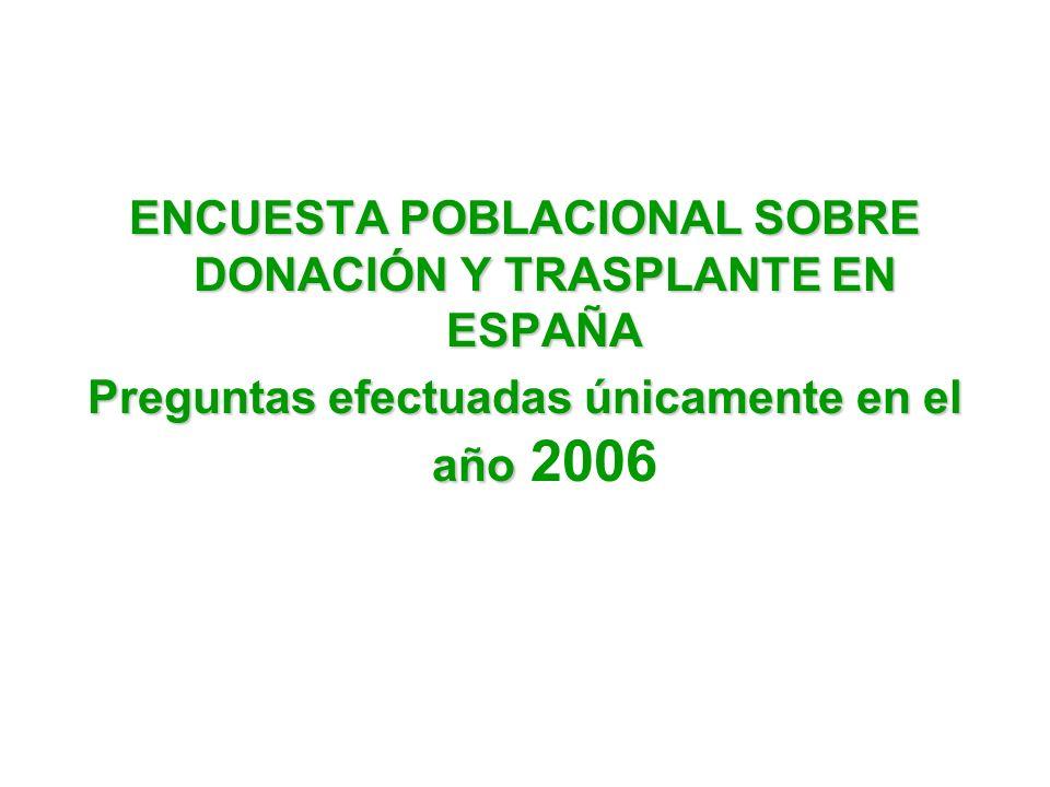 ENCUESTA POBLACIONAL SOBRE DONACIÓN Y TRASPLANTE EN ESPAÑA