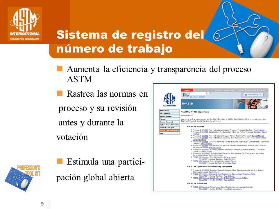 Sistema de registro del número de trabajo