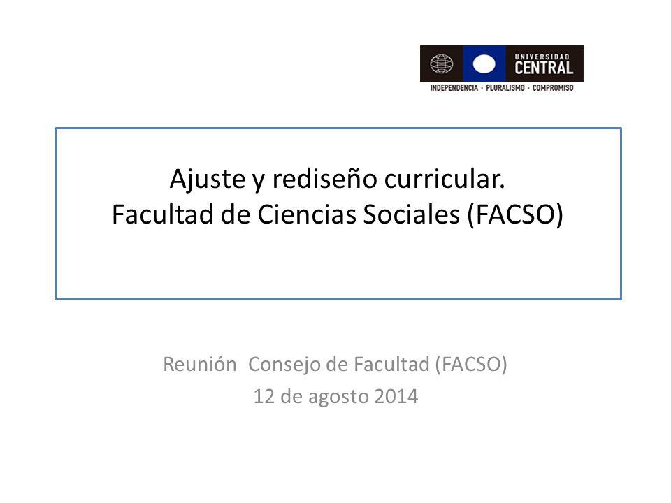 Ajuste y rediseño curricular. Facultad de Ciencias Sociales (FACSO)