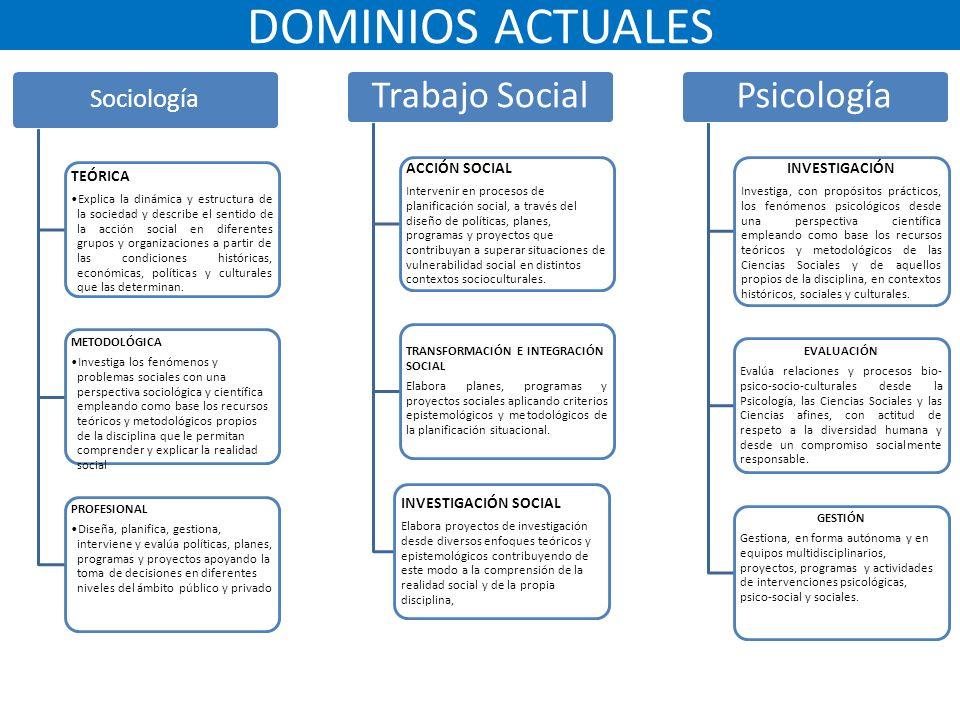 DOMINIOS ACTUALES Trabajo Social Psicología Sociología TEÓRICA