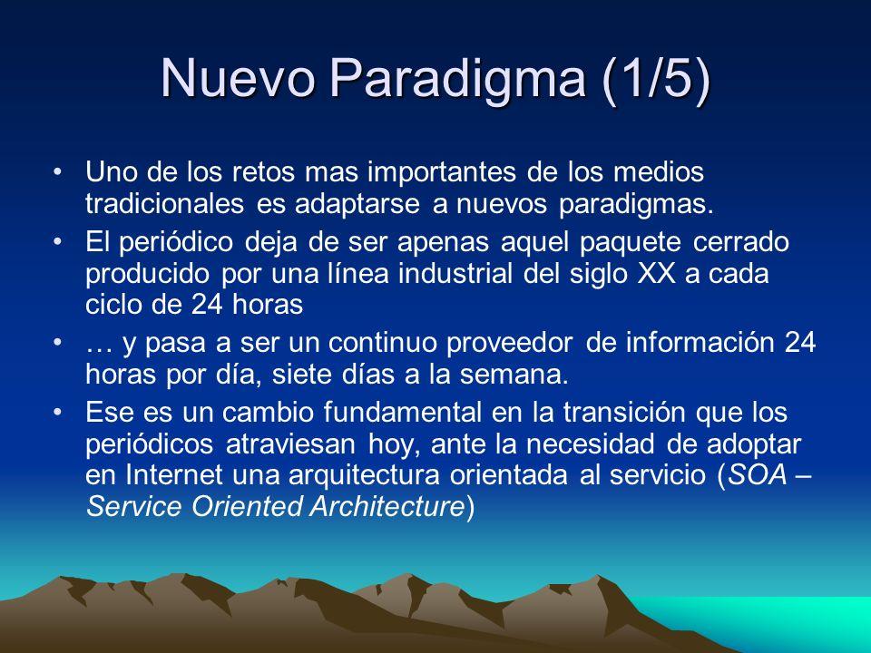 Nuevo Paradigma (1/5) Uno de los retos mas importantes de los medios tradicionales es adaptarse a nuevos paradigmas.