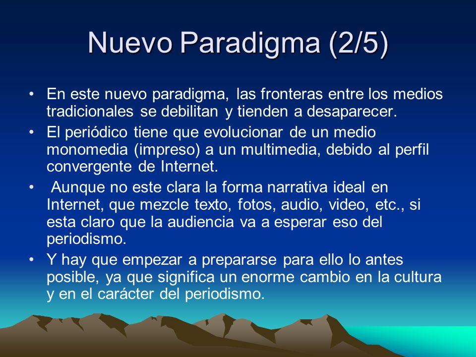 Nuevo Paradigma (2/5) En este nuevo paradigma, las fronteras entre los medios tradicionales se debilitan y tienden a desaparecer.