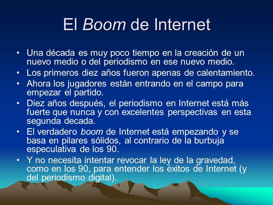 El Boom de Internet Una década es muy poco tiempo en la creación de un nuevo medio o del periodismo en ese nuevo medio.