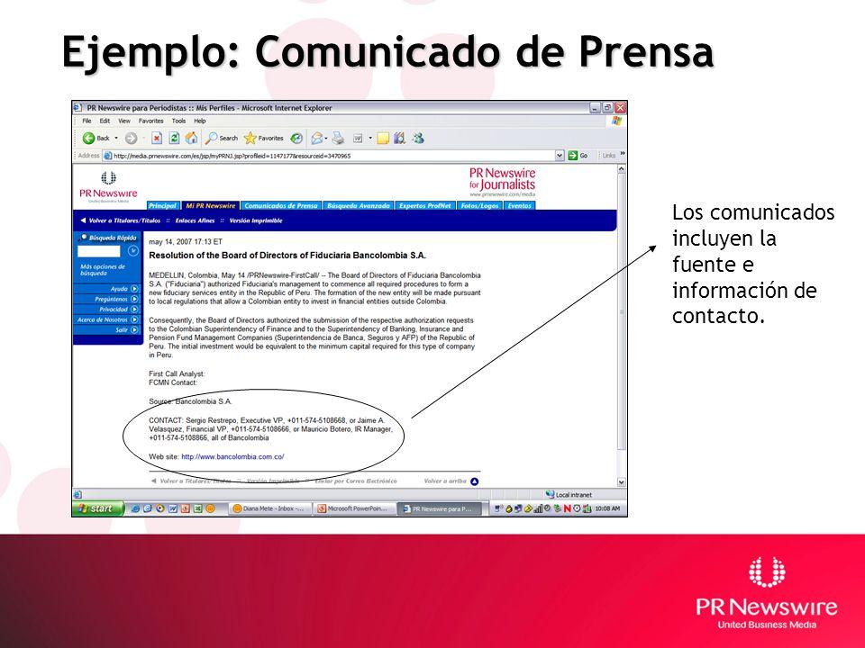 Ejemplo: Comunicado de Prensa